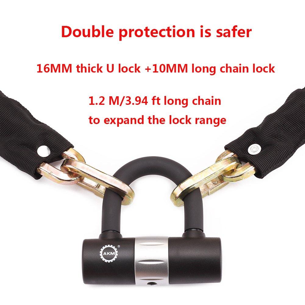 AKM Security Bike Chain Lock Heavy Duty Bicycle lock Bike Disc Lock with 16mm U Lock,4-Feet Motorbike Lock Black by AKM (Image #5)
