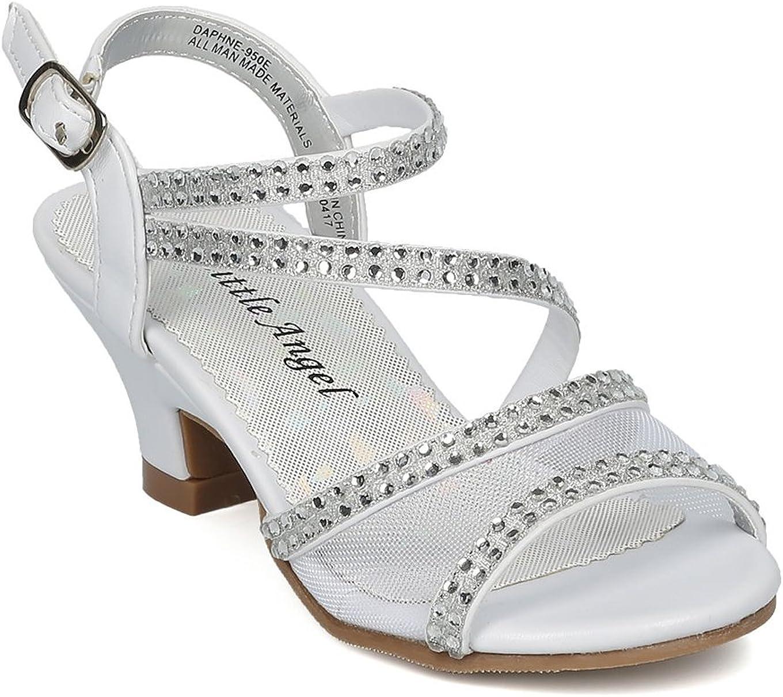 Size: Toddler 7 White Leatherette Alrisco Girls Open Toe Mesh and Rhinestone Strappy Kiddie Heel Sandal HC29