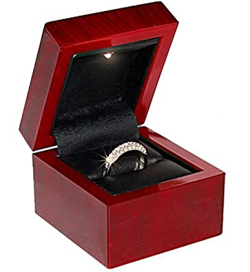 cherry wood style plastic ring box with light - Wedding Ring Box