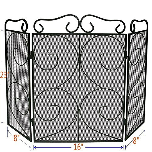 Lizh Metalwork 3-Panel Mini Scroll Fireplace Screen,Black