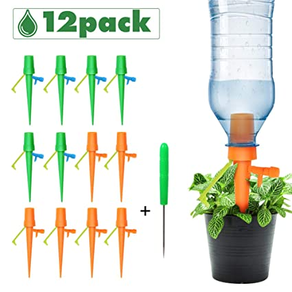 Plant Watering Devices,Suitable All Bottles Slow Release Drip Irrigation Automatic Vacation Watering Spikes Devices with Control Valve Switch and Anti-Tilt Down Bracket for Indoor Outdoor Plants