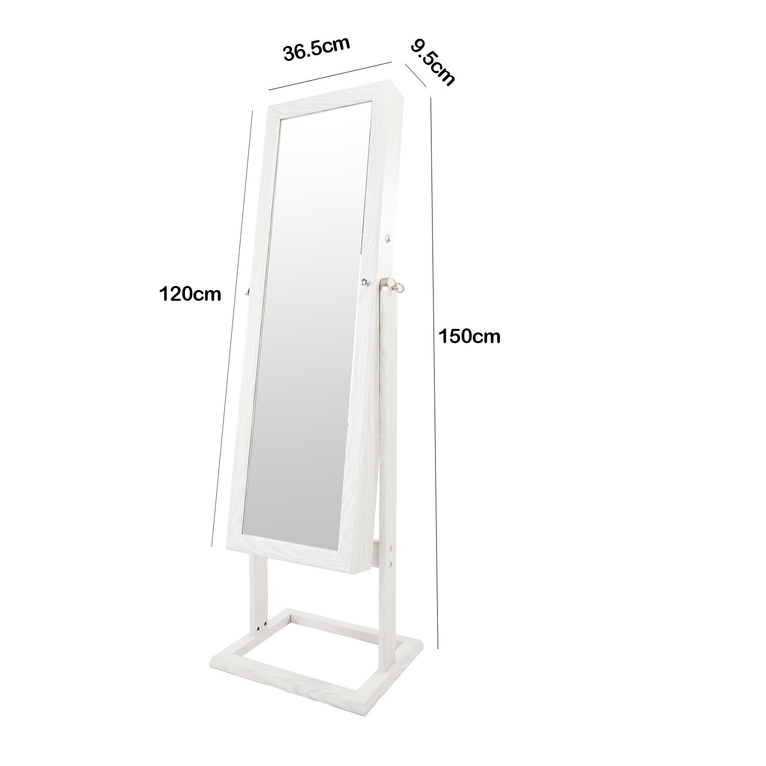 Bonnlo Jewelry Armoire Stable Square Stand with 6 LEDs with 4 Adjustable Angle Tilting, Well Packed by styrofoam & Stiffer Covering, Lockable Heavy Duty Bedroom Make up Mirror Cabinet Organizer Closet by Bonnlo (Image #5)