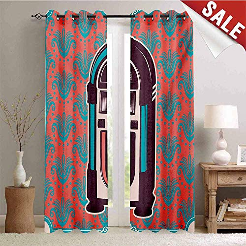 Hengshu Jukebox Blackout Window Curtain Floral Paisley Inspired Backdrop with Music Box Retro Party Print Customized Curtains W72 x L84 Inch Turquoise Coral Dried Rose