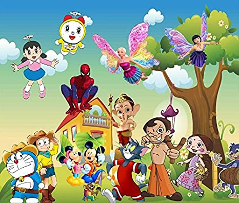 Trustech Customised All Cartoon Characters 3d Wallpaper For Kids Room Home Decoration Size 5x4 Feet Amazon In Home Kitchen