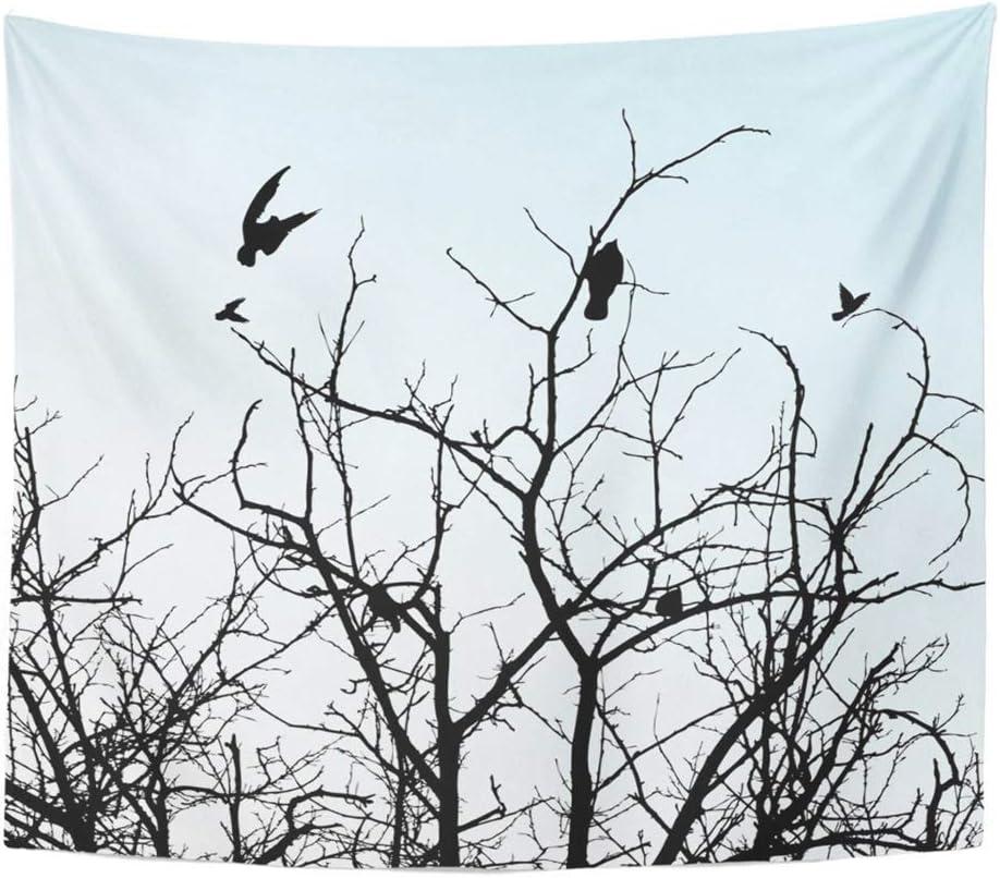 Soefipok Tapicería Tela de poliéster Imprimir Decoración para el hogar Pájaros Ramas Rama Negra Campo Pareja Bosque Hierba Gris Colgante de Pared Tapiz para la Sala de Estar Dormitorio Dormitorio
