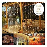 KNONEW LED Window Curtain Icicle Lights, 306 LEDs, 9.8ft x 9.8ft, 8 Modes, String Fairy Light, LED String Light for Wedding Party/Christmas/Halloween/Party Backdrops (Warm White)