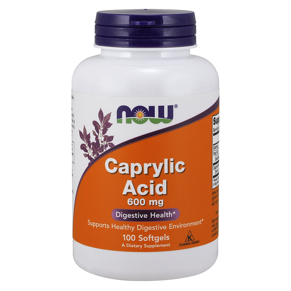 NOW Caprylic Acid 600 mg,100 Softgels