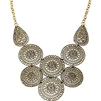 Fashion Vintage Jewelry Women Hollow Flower Pendant Chain Choker Chunky Necklace