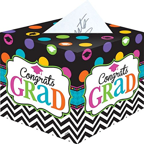 Amscan Dream Big Graduation Party Card Holder Box, Paper Cardboard, 12'' .
