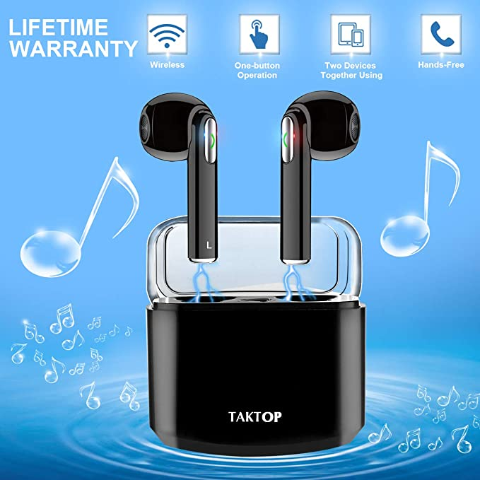 Auriculares Bluetooth, Auriculares Inalámbricos In Ear Sonido Estéreo con Caja de Carga TWS Auriculares Deporte