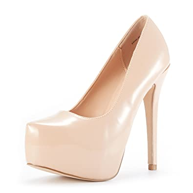 e02ffa5549b DREAM PAIRS Women s Swan-30 Nude Pat High Heel Plaform Dress Pump Shoes Size  8