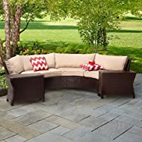 Threshold Harrison 6-Piece Wicker Sectional Patio Seating Set (Tan)