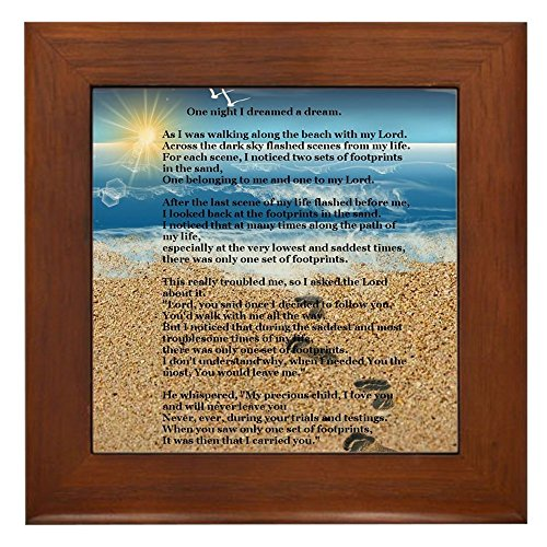 CafePress - Footprints In The Sand - Framed Tile, Decorative Tile Wall Hanging