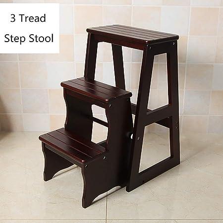 Escalera de tijera plegable Taburete de madera de 3 escalones for adultos Cocina for niños Escaleras
