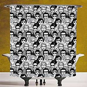 Durable Shower Curtain 3.0 by SCOCICI [ Doodle,Crowded Street Sunglasses on Everybody Aviators Urban Life Modern Artwork Print,Black White ] Polyester Fabric Bathroom Shower Curtain