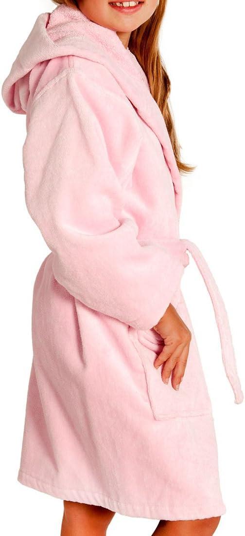 "Men/'s Pink Hooded Terry Spa Bathrobe 53/"" Length 100/% Cotton"