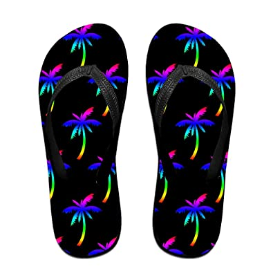 3a006ed0072 Rainbow Colorful Palm Tree Unisex Fashion Beach Slipper Indoor And Outdoor  Classical Flip Flops Thong Sandals