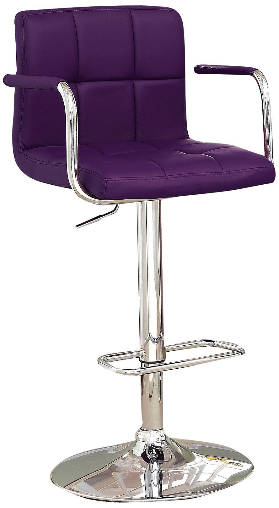 Furniture of America Modern Chelsea Leatherette Swivel Bar Stool, Purple by Furniture of America