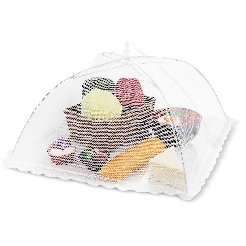 Flexzion Food Cover Tent - Pop Up Mesh Screen Net Umbrella Covers Keep Out Flies, Bugs, Mosquitos, Wasps Pefect for Outdoor Picnic, BBQ, Camping, Fruit Dinner Protection, Reusable and Collapsible COMINHKPR151564