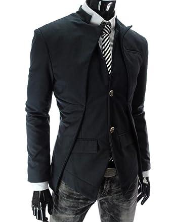 Chaqueta de Traje Slim Fit Asimétrica Blazer Uno Botón Trajes Abrigos para Hombre Negro XL: Amazon.es: Ropa y accesorios