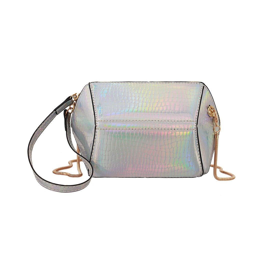 Liliam Women Holographic Geometric Shape Crocodile Print Shoulder Crossbody Party Cosmetic Bag Handbag(Silver)