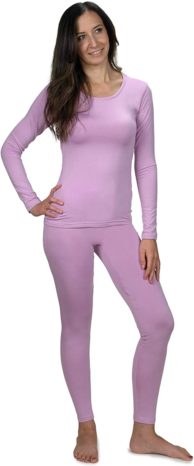 Womens Ultra Soft Thermal Underwear Long Johns Set with Fleece Lined