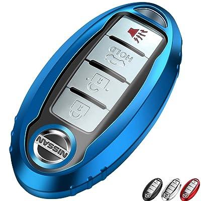Lcyam TPU Smooth Case Key Fob Cover Blue Fits for Infiniti Nissan Altima SL FWD Maxima Sentra X Trail Patrol Quest Murano Pathfinder Serena Kicks Armada Juke Versa Accessories: Automotive