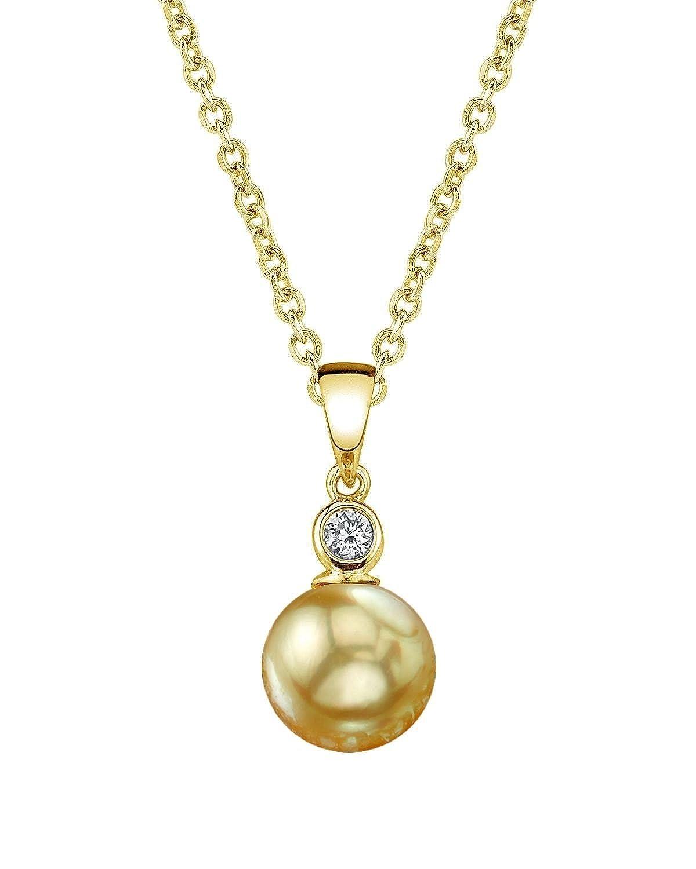 Golden South Sea Cultured Pearl & Diamond Michelle Pendant Necklace in 14K Gold
