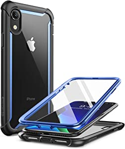 i-Blason Ares Case for iPhone XR 2018, Full-Body Rugged Clear Bumper Case with Built-in Screen Protector (Blue)