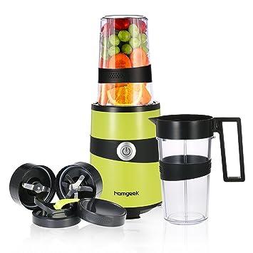 homgeek Smoothie batidora, mezclador de frutas Personal Blender Nutrición extractor con 2 vasos y botella de viaje tapa: Amazon.es: Hogar