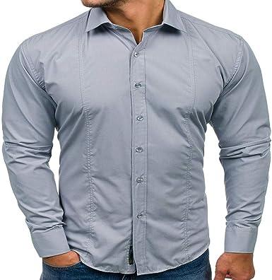 Camisa de Manga Larga para Hombre de otoño e Invierno de 2019 Camisa de Color sólido Gris XL: Amazon.es: Ropa y accesorios