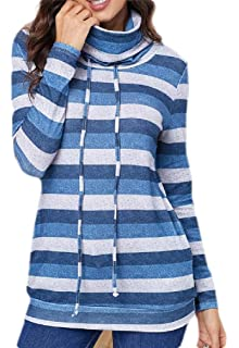 yibiyuan Womens 1//4 Zipper Color Block Sweatshirts Pullover Tunic with Pockets