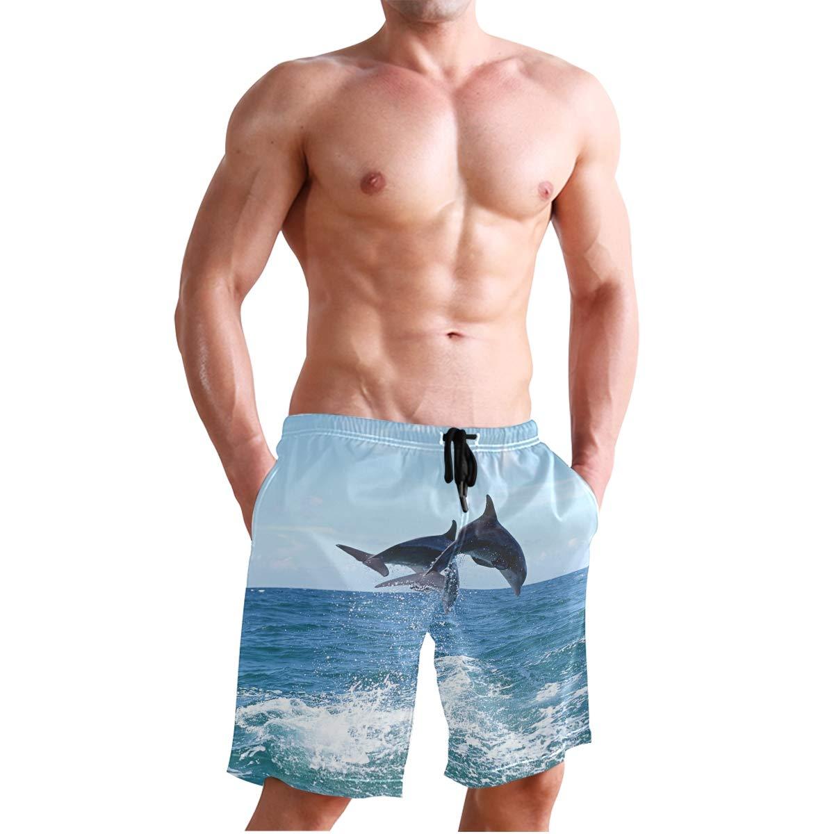 DEYYA Mens Love Dolphins Summer Beach Shorts Pants Swim Trunks Board Short for Men