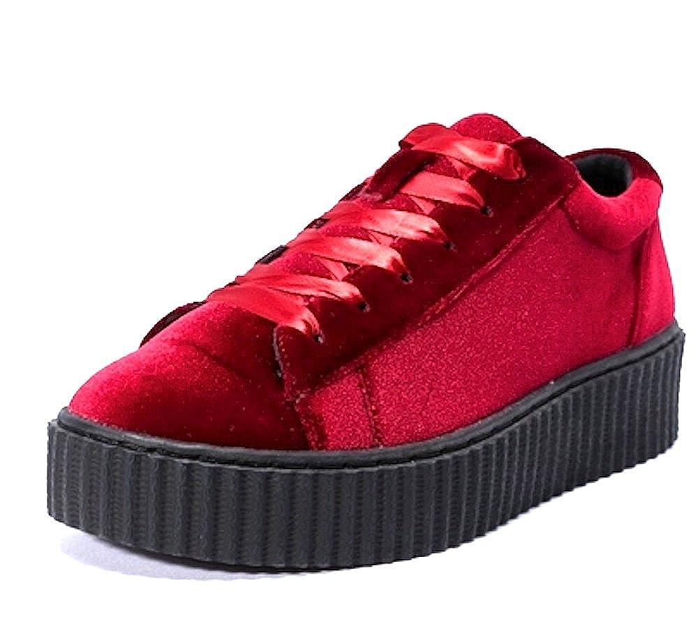 quality design 5da98 9ba60 Truffle - Womens Dark Red Velvet Creepers Lace up Platform trainers Shoes  Flatform Ladies pumps