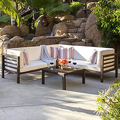 Best Choice Products 4 Piece Acacia Wood Outdoor Patio Sectional Sofa Set  W/Water Resistant Cushions, Table   Espresso