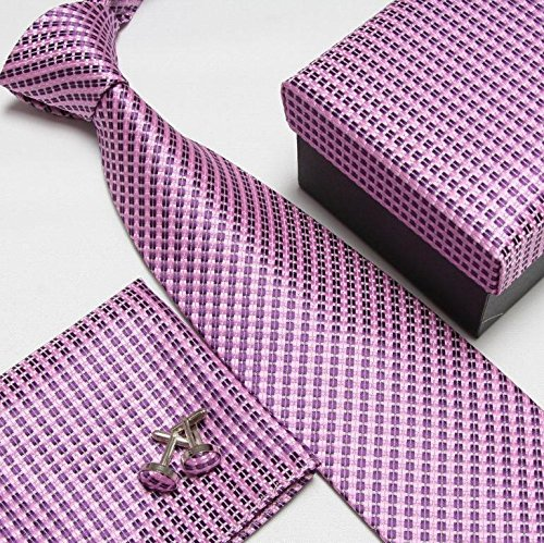 Men's Fashion High Quality Grip Neck Tie Set Neckties Cufflinks Silk Ties Tower Cuff Links Cravat Pocket Handkerchief