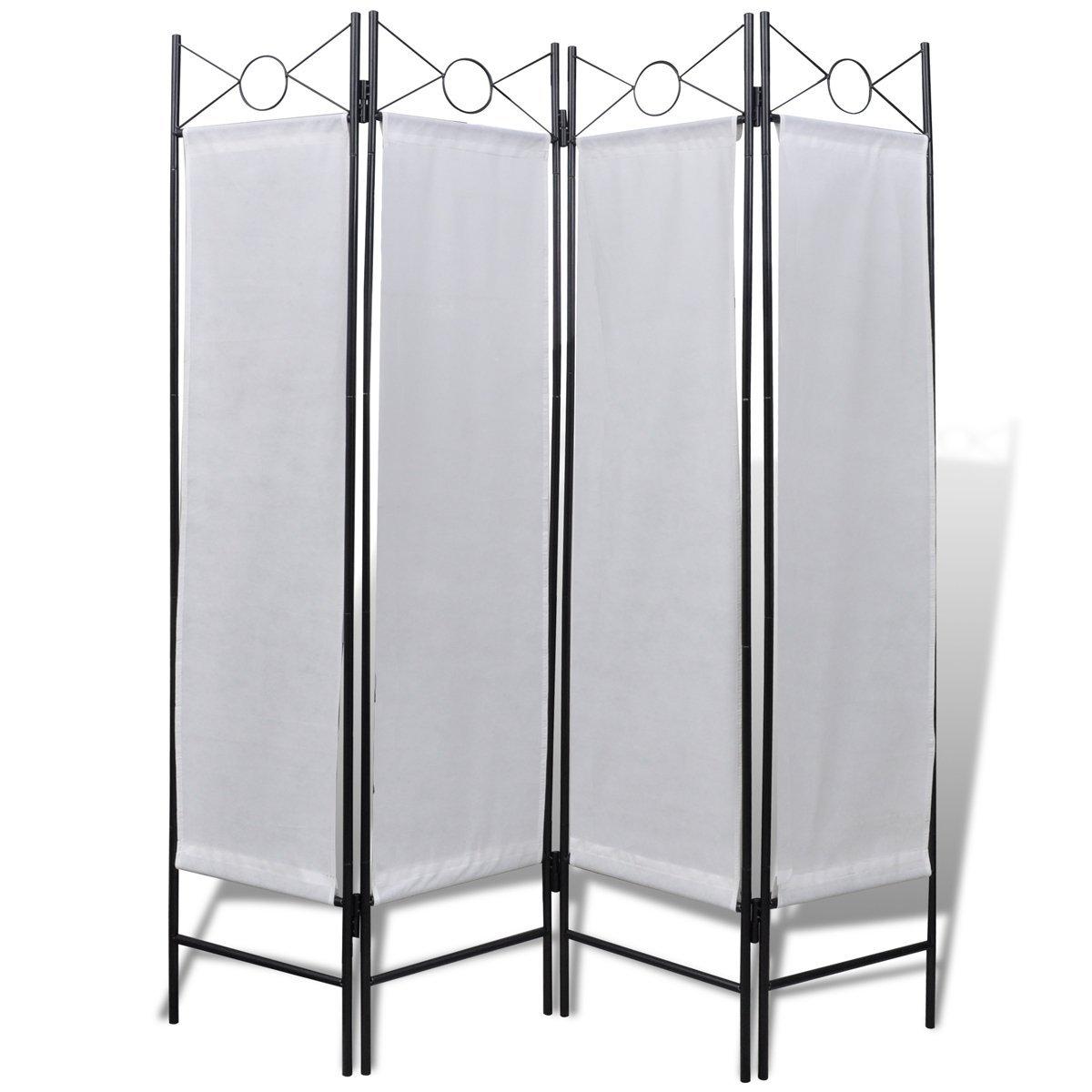 vidaXL 4-Panel Room Divider Privacy Folding Screen 160 x 180 cm White Elegant