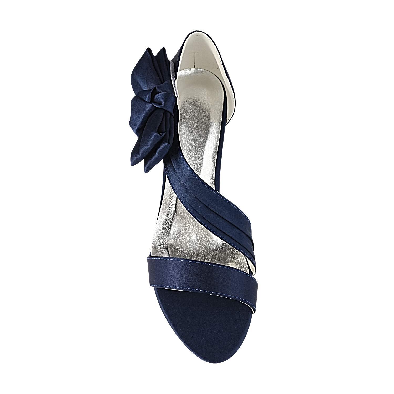 ca9f3147 Emily Bridal Zapatos de Boda de Champagne Sandalias Nupciales de satén con Punta  Abierta y tacón bajo: Amazon.es: Zapatos y complementos