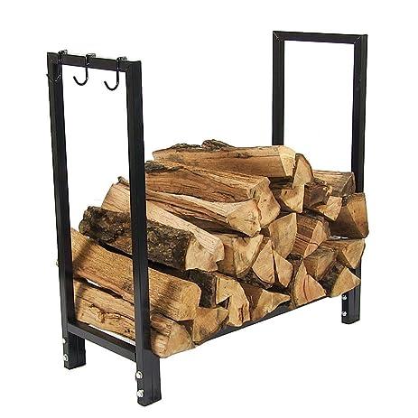 Amazon.com : Sunnydaze 30 Inch Indoor/Outdoor Black Steel Firewood ...