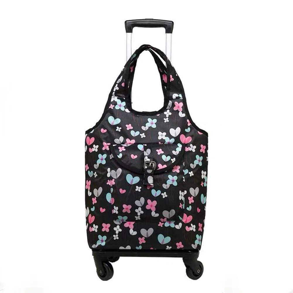 L&QQ Lightweight Shopping Cart for Women Grocery Trolley Travel Suitcase Cabin Rolling Luggage Bag,Handbag with Wheel,A