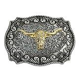 Gosear Western Style Waist Belt Buckle Golden Alloy Long Horn Bull Pattern Waist Buckle