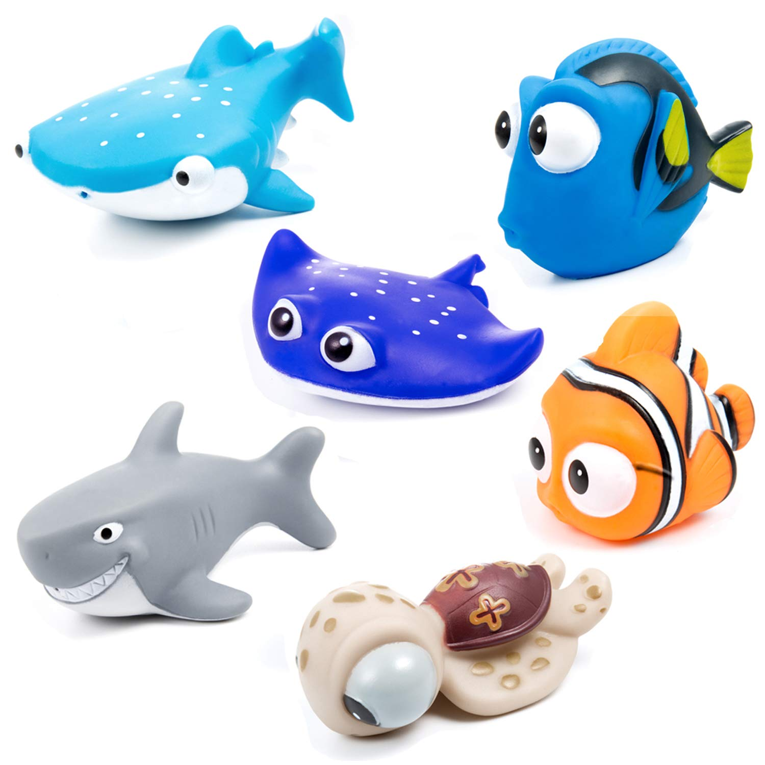 MOOKLIN 6pcs Floating Bath Toys Sea Animals Bathtub Water Toys Squirt Toys Bathroom Accessory Set for Baby Kids Toddler Shower and Swimming Tub