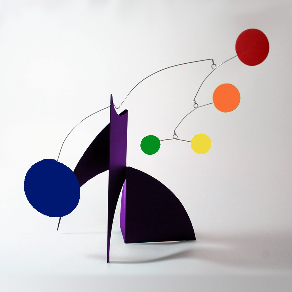 The Moderne Art Stabile in Rainbow Colors - a mobile you display on desktop, coffee table, or shelf - Inspired by Alexander Calder - Eames Midcentury Modern Style