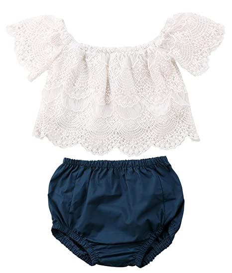 c9124e1b94c5 Emmababy Little Baby Girls Clothing Set Off Shoulder Ruffle Top Lace Blouse  and Bottom Briefs Shorts