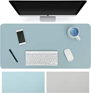 Womdee Dual-Sided Desk Pad Office Desk Mat, Ultra Thin Waterproof PU Leather Mouse Pad Desk Blotter Protector, Desk Writing Mat for Office/Home (Light Blue/Silver, 80 x 40cm)