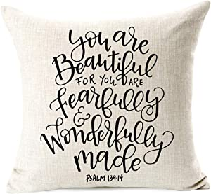 Inspirational Quotes You are Beautiful for you are fearfully and wonderfully made Home Decorative Throw Pillow Case Cushion Cover with Words Sofa Bed Car Living Room Farmhouse Decor 18 x 18 Inch