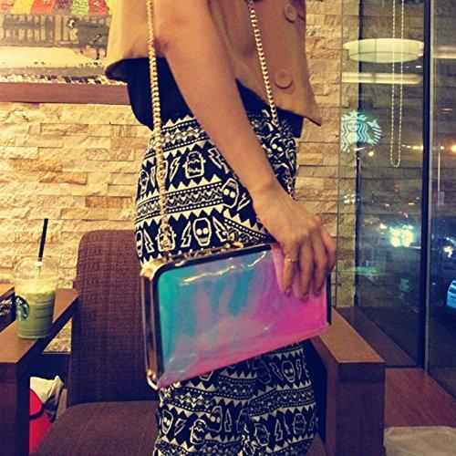Evening Women Drasawee Single Dinner Laser Clutch blue red PU Bag Shoulder and gradient Ladies Handbag wX1r1dSq