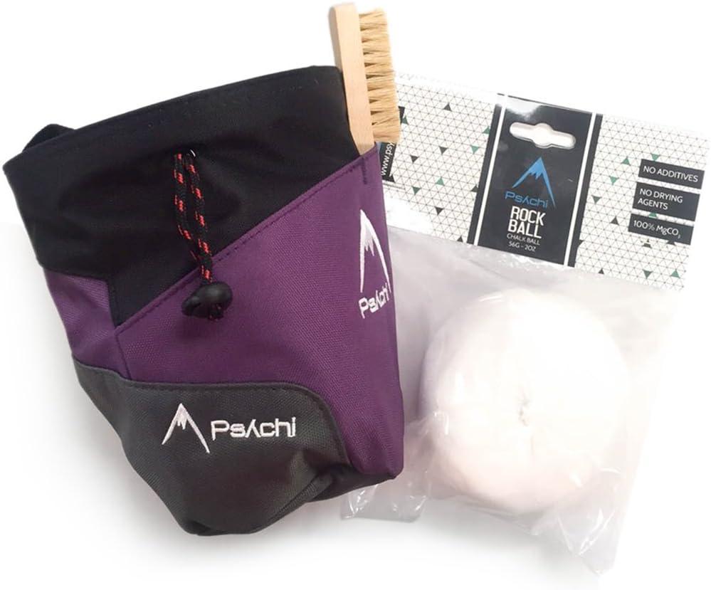 Psychi Premium Chalk Bag Starter Pack for Bouldering Rock Climbing with Waist Belt Chalk Ball and Brush.