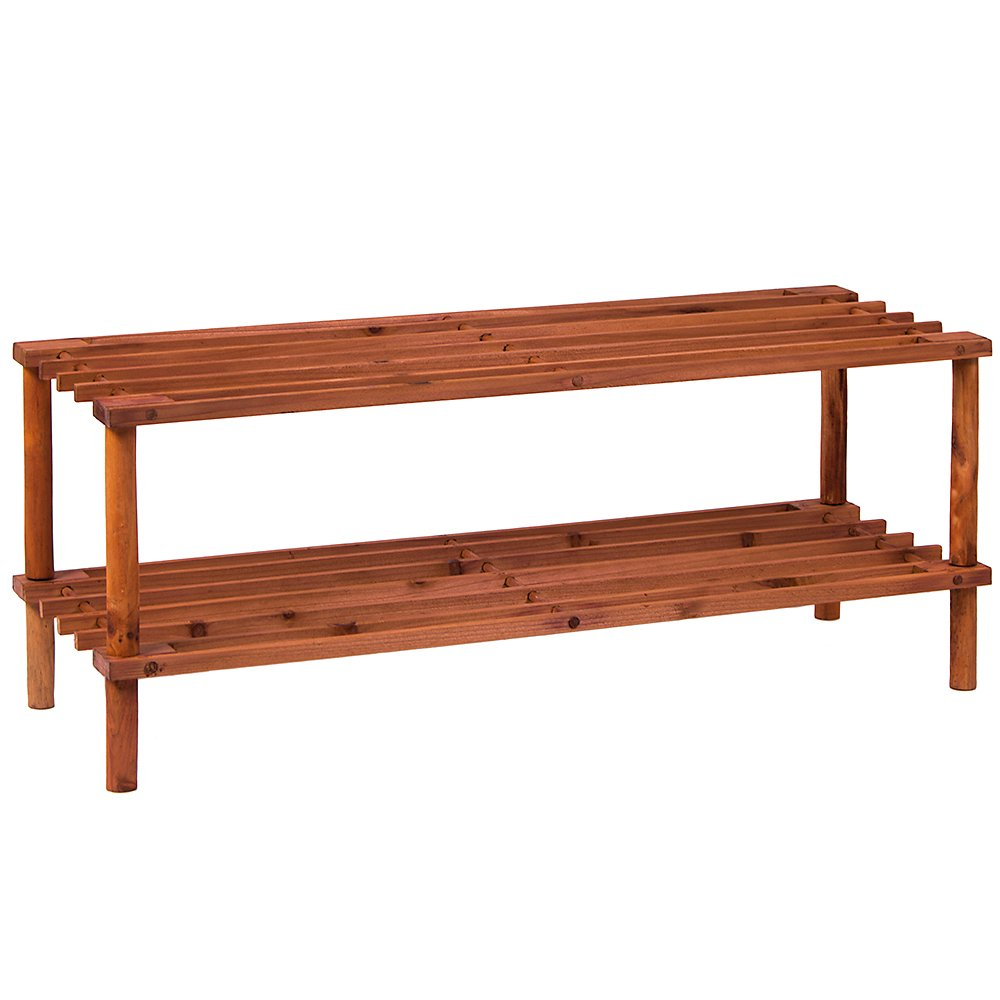 Home Discount 2 Tier Slated Wood Storage Organiser Shoe Stand Rack, Walnut FREE DELIVERY