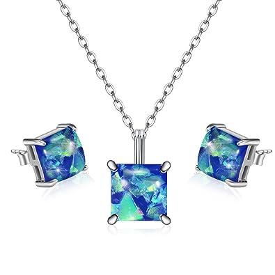 395c5c93445b KOLOVEADA Mujeres Aretes Collar Conjunto de Joyas Plata 925 Pendientes de  Plata Collar Colgante Piedras Preciosas Cristales Curativos de Cuarzo Set  de ...